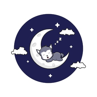 초승달 만화 아이콘 그림에 귀여운 늑대 잠. 디자인 고립 된 평면 만화 스타일
