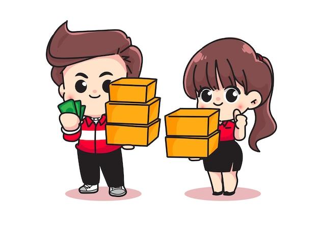 캐릭터 만화 예술 삽화를 제공할 준비가 된 판지와 돈을 들고 있는 귀여운 여성과 남성