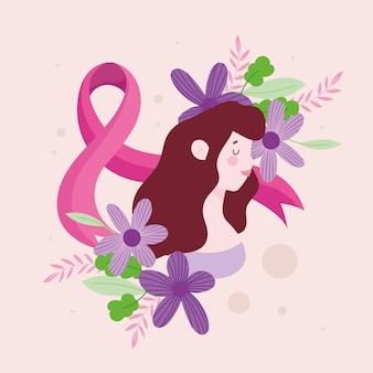 귀여운 여자와 핑크 리본