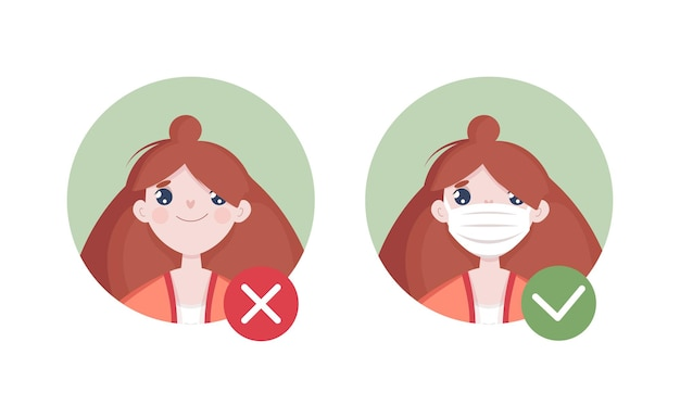 Cute woman avatar with and without mask