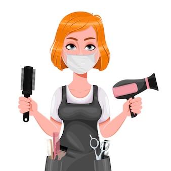 Симпатичная женщина парикмахер. женский парикмахер