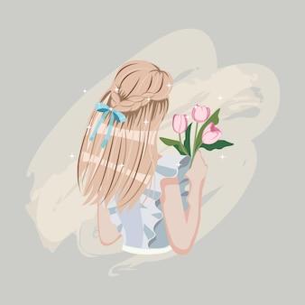 Милая прическа косы женщины с лентой.