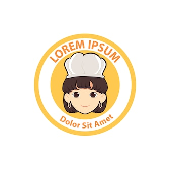Cute woman chef cartoon logo badge vector illustration