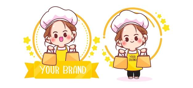 Симпатичная женщина-повар логотип