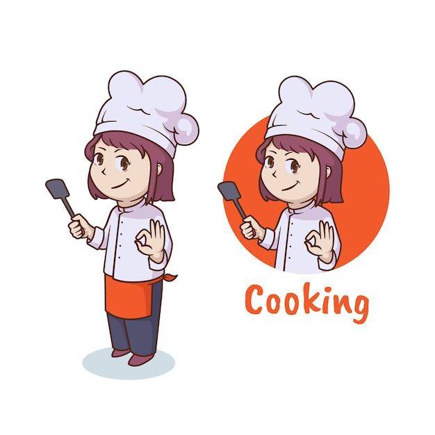 Симпатичная женщина-повар, дизайн логотипа талисмана