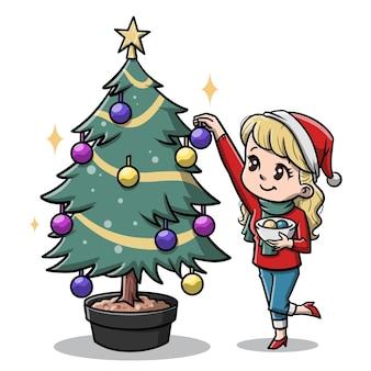 크리스마스 트리 만화를 장식 하는 귀여운 여자