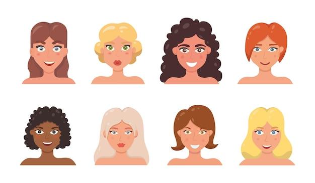 귀여운 여자 얼굴 벡터 일러스트 레이 션을 설정합니다. 만화 스타일의 다른 여자의 아바타. 다른 얼굴 표정으로 어린 소녀 초상화입니다.