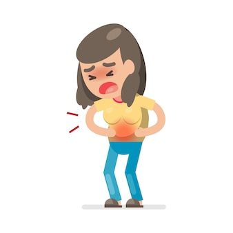 Cute woman having stomach ache