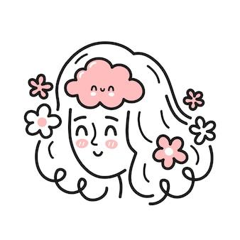 Милая голова женщины с счастливым мозгом внутри. хорошее настроение, психическое здоровье, эмоциональная концепция