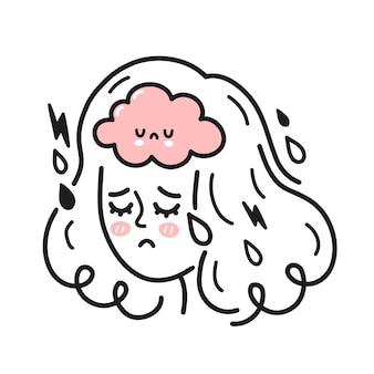 내부 슬픈 두뇌와 귀여운 여자 머리