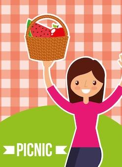 바구니 과일을 들고 귀여운 여자