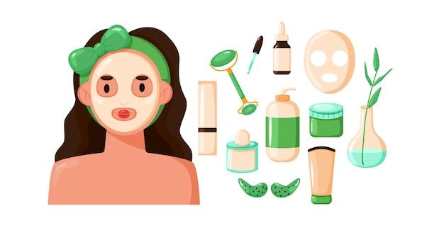 化粧フェイスマスクのかわいい女性。化粧品ツールのセット。