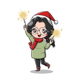 クリスマスパーティー漫画のかわいい女性