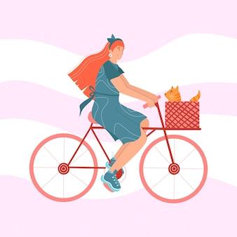 かわいい女性が猫と自転車に乗っています。