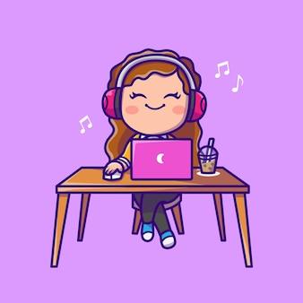 Musica d'ascolto della donna sveglia sul computer portatile con l'illustrazione dell'icona del fumetto della cuffia. persone tecnologia icona concetto isolato. stile cartone animato piatto