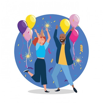 Cute woman and man dancing with confetti decoration