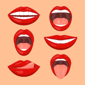 Cute woman mouth set