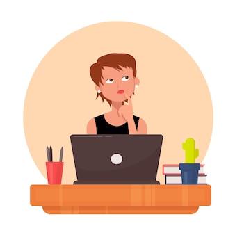 思慮深く、目をそらしているかわいい女性のオフィスマネージャー。