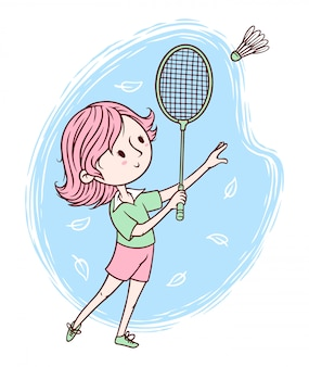 Cute woman playing badminton illustration