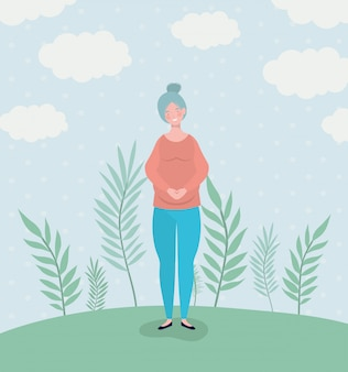 풍경에 귀여운 여자 임신