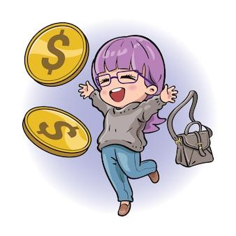 お金を受け取り、経済的な成功を収めているかわいい女性