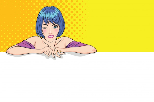 Cute woman showing blank banner with copyspace