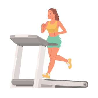 Cute woman in sportswear runs on a treadmill on a white background cardio workout