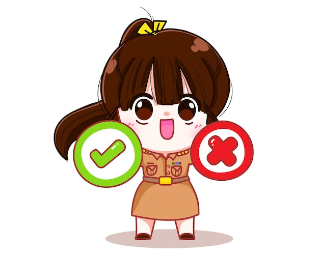 Cute woman teacher in government uniform holding cross and check mark symbol character cartoon art illustration