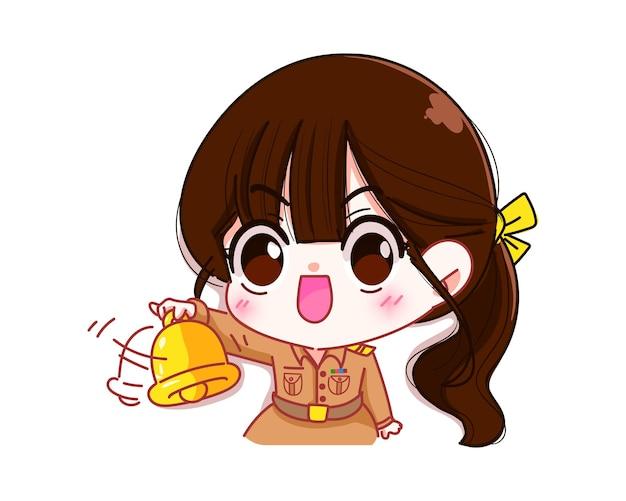 Cute woman teacher holding bell in government uniform character cartoon art illustration