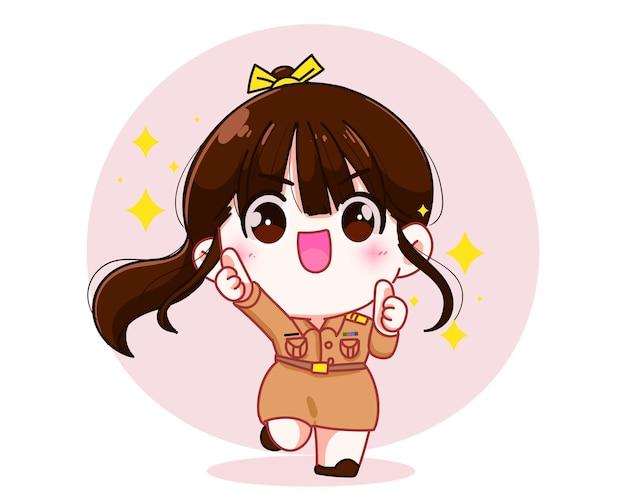 정부 제복을 입은 귀여운 여성 교사는 손으로 캐릭터 만화 예술 삽화를 들고 행복한 엄지손가락을 치켜들고 있습니다.