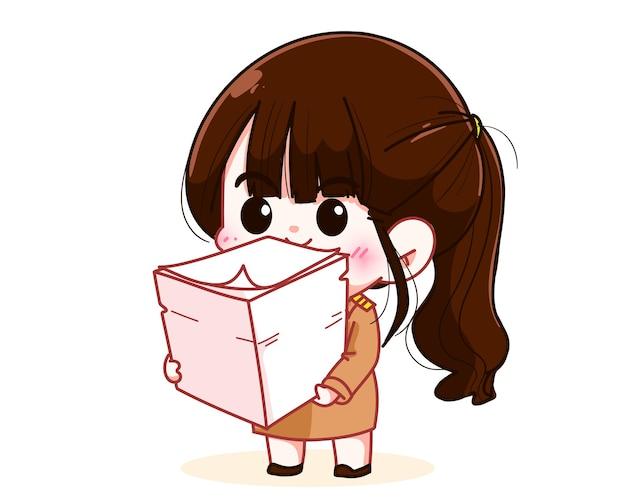 정부 제복을 입은 귀여운 여교사는 서류 더미를 들고 있는 캐릭터 만화 예술 삽화