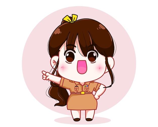 손 캐릭터 만화 예술 삽화로 복사 공간을 가리키는 정부 제복을 입은 귀여운 여자 교사