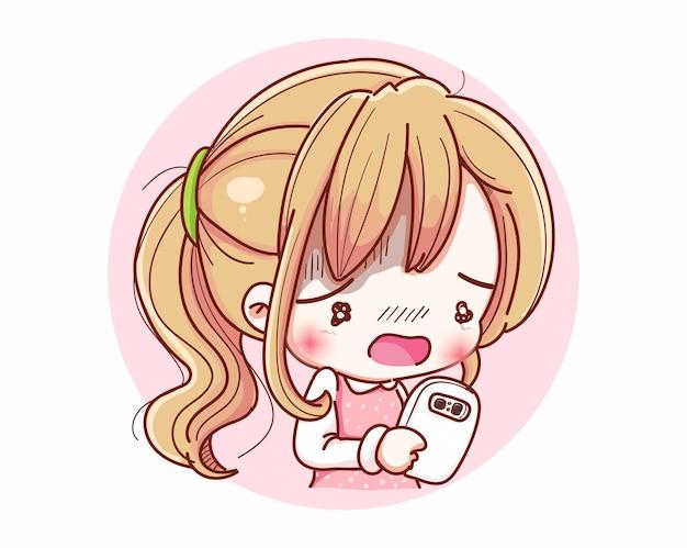 귀여운 여자 대기 전화 및 만화 캐릭터 디자인.