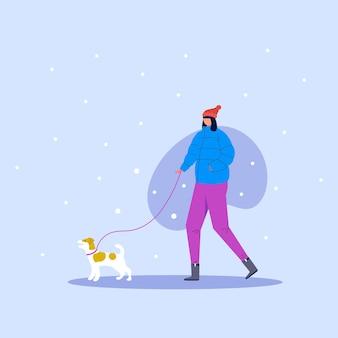 冬の公園でひもにつないで犬と一緒に歩いているかわいい女性。アウトドアアクティビティのコンセプト。ベクトルイラスト。白い背景で隔離のスカーフと彼女のペットと愛らしい女の子。
