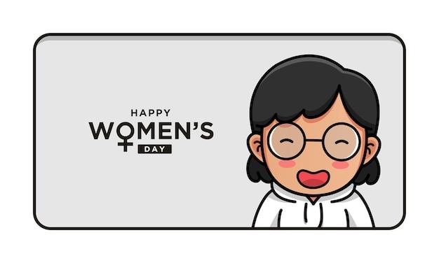 幸せな女性の日の挨拶とかわいい女性