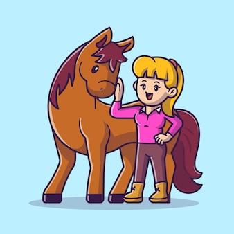 Милая женщина с лошадью мультфильм вектор значок иллюстрации. люди концепции животных значок изолированные premium векторы. плоский мультяшном стиле