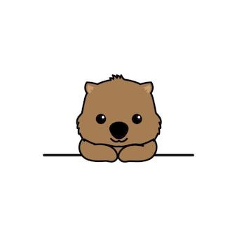 Cute wombat smiling over wall cartoon