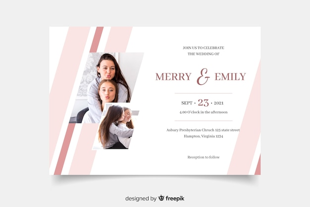 Cute women celebrating wedding invitation