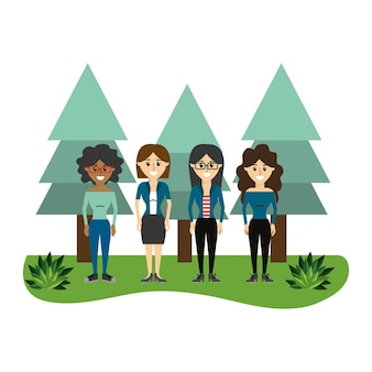 Cute women friends with pine trees