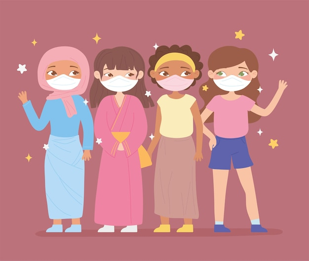 医療用マスクを持つさまざまな民族からのかわいい女性