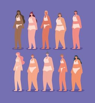 Группа милых женщин в нижнем белье. концепция разнообразия
