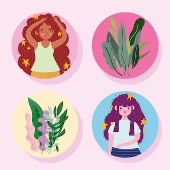 Cute women with stars in hair and flowers plants set illustration