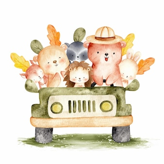 Cute woodland animal in the car watercolor illustration