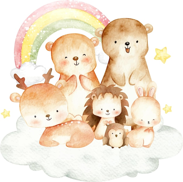Cute woodland animal on the cloud watercolor illustration