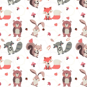 Cute woodland animals autumn fox, beaver, squirrel, rabbit and bear seamless background