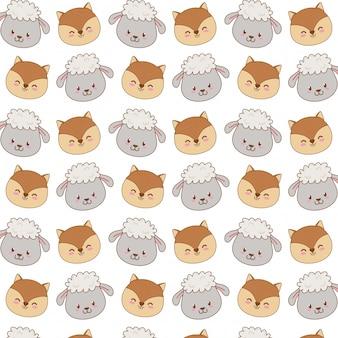 Cute woodland animals characters seamless pattern wallpaper