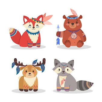 Cute woodland animals set