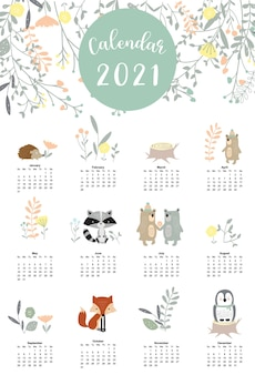Cute woodland calendar 2021 with bear, skunk, penguin, leaves for children, kid, baby