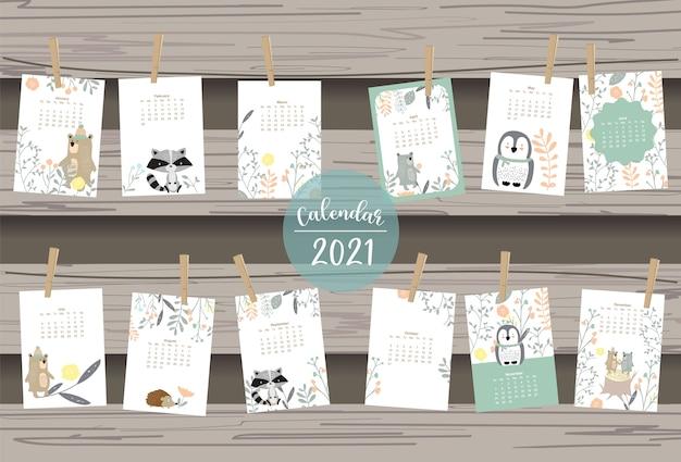 Cute woodland calendar