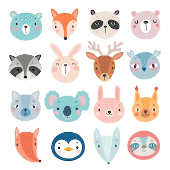 Cute woodland characters bear fox raccoon rabbit squirrel deer owl and others